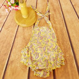 Yellow Gold Paisley baby Girls Rompers ,Paisley Baby Girls Jumpsuit ,Halter Back and Ruffle Bottom Baby Rompers