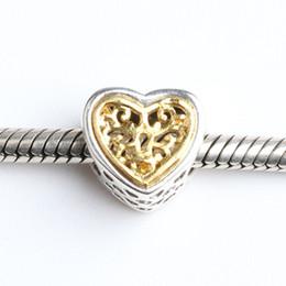 Se adapta Pulseras Pan 4,5 mm chapado en oro del corazón encantos cuelgan Perlas de plata Cubic Zirconia 100% 925 plata esterlina encantos de la joyería DIY gold heart 925 bracelet on sale desde corazón del oro de la pulsera 925 proveedores