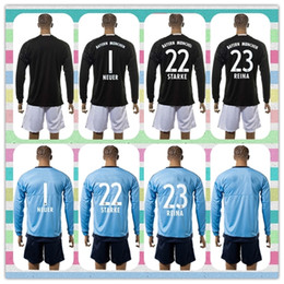 Wholesale New Product Uniforms Kit Bayer Munich Goalkeeper NEUER STARKE REINA Black Blue Long Sleeve Soccer Jerseys