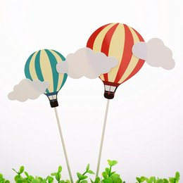 2pcs lot Hot Air Balloon Birthday Wedding Cake Topper Flags For Birthday Wedding Party Cake Baking Decor