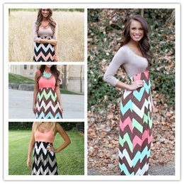 Wholesale Womens Dress Summer New Long Maxi Dress Hot Sale Vintage Vestidos De Festa Tank Chevron Curvy Bodycon Dress DS
