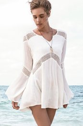 Wholesale-NEW! 2015 Fashion Summer Women Beach Dress, Sexy Hawaiian Dresses beachwear , Casual Bell Sleeve Beach Tunic Beach Output