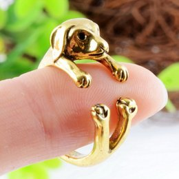 2015 Hot Antique Gold Plated Cute Dog Animal Design Adjustable Size Ring New Fashion Animal Rings Party rings For Women