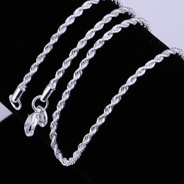 Wholesale New Fashion Silver Beautiful Necklaces mm inch Flash twisted rope Necklace Sterling Silver Jewelry n226