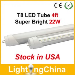 Wholesale Stock in CA NJ T8 LED Tube Lights ft W SMD2835 AC85 V Clear Milky Cover Cool White K Years Warranty