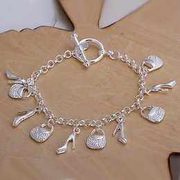 Wholesale best nice Christmas jewelry gift hot sale sterling Silver fashion jewelry Charms bag shoes women ladies bracelet H108