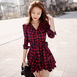 Wholesale-Hot Selling Womens Retro Long Sleeve Dress Red Plaid Lapel V Neck Shirt Dress Belted Dress