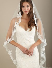 Wholesale 1 tier Waltz Length Cascading Wedding Veils With Venise Lace Edge KR Bel Aire White Ivory Or Champagne Bridal Veil V7322