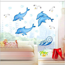 Wholesale 10 home decor Bathroom bathroom tile stickers affixed to glass spray dolphin fish decorative wall stickers wall stickers factory DM57