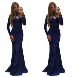 Fashion Floor Length Runway Dresses Royal Blue Evening Dress Long Sleeve Crew Neck Backless Sexy Maxi Dress W850462