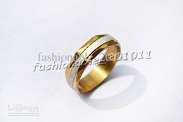 Wholesale Stainless Steel Womens Fashion Ring Gold Color Beveled Band Silver Sparkle Design Jewelry R391