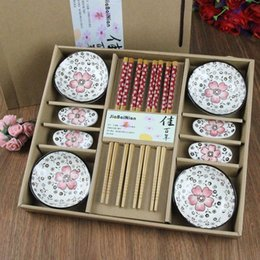 Wholesale Insurance Business Wedding Gift Chinese bamboo bamboo chopsticks sushi dish shaped ceramic tableware set