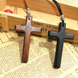 Discount wooden cross pendant necklace vintage beads leather cord sweater chain men women jewelry handmade stylish 15pcs