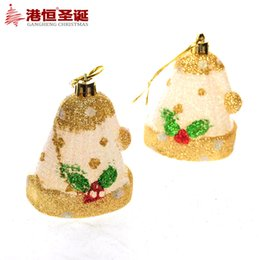 Wholesale Christmas tree decorations cm golden helmet glue powder enamel paint Santa pendant g supplies crafts hanging party supplies
