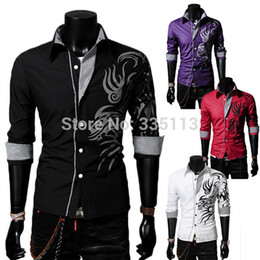 Zanzea 2015 Autumn Mens New Fashion Long Sleeve Dragon Printed Male Shirts High Quality Cotton Dress Shirt Size L-XXXL