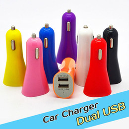 Colorful Mini Car Chargers USB 2 Port Cigarette Chargers Micro Dual USB Adapter Flash Dual USB Port for cell Phones & Pad