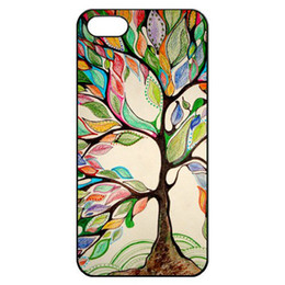 Wholesale Black Side Colorful Love Tree Charm Hard Plastic Mobile Phone Case Cover For iPhone 4 4S 5 5S 5C 6 6 Plus