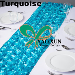 Nice Look Turquoise Color Satin Rosette Table Runner For Table Cloth Used On Wedding