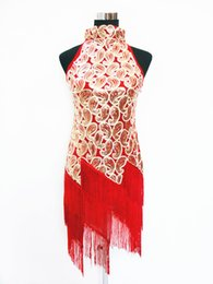 Wholesale Sequins Lace Fringe - Shining Stand Collar Fringe Latin Dance Dress 1920's Flapper Clubwear Great Gatsby Sequin Tassel One Piece Dress 8025
