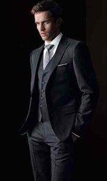 Wholesale Cheap Black Pants For Sale - Hot Sale Black Slim Fit Exquisite Mens Suits For Wedding Handsome Groom Tuxedos High Quality Bridegroom Suit (Jacket+Pants+Tie+Vest) Cheap