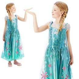 Wholesale 2015 Frozen Fever Anna Elsa Fairytale Kids Girls Snow Queen Fever Deluxe Outfit Fancy Dress Costume Party Princess Dress with cloak