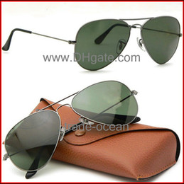 Wholesale Brand new sunglasses Gun color frame Green glass lens for Women s and Men s sunglass Size mm Glasses