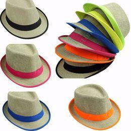 Wholesale-Summer Men's Womens Neon Fedora Trilby Sun Cap Straw Beach Hat Sunshade