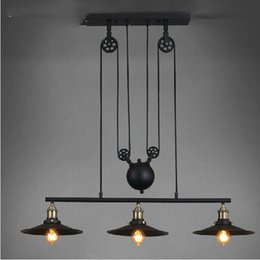 Wholesale Loft America Country Pulley Lifting Pendant Lights Creative Industrial Vintage Pendant Lamp Adjustable Contractile Home Lighting