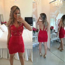 Sheath Short Red Cocktail Dress Club Wear Lace Custom Made Sexy backless Sheer Tulle Prom Gowns 2016 Vestidos De Festa