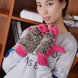 Fashion Novelty winter Warm outdoor gloves woman's Cartoon Mittens hedgehog Chrismas cotton gloves Outdoor gloves Gifts 9 Colors
