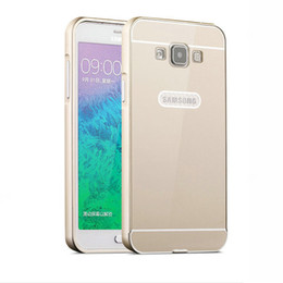 Wholesale E5 New in1 Cases For Luxury Samsung Galaxy E5 E5000 Slim Acrylic Back Cover Aluminum Metal Frame Set Phone Case E5000