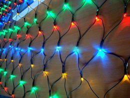 Holiday Christmas lights Dark Gree Wire LED Net Lights Lamps 1.5m*1.5 100led Flashing Christmas light 110v-250v AU EU US UK Plug