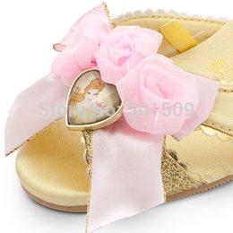 Wholesale childrens girls golden glitter belle princess bowknot princess shoes shoes