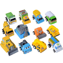 Wholesale SET of Cute Engineering Pull Back Pixar Cars Figure Toy quot Truck Diecast Model Bulldozer Excavator Dump Mixer