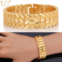 U7 Romantic Heart Bracelet Lovers' Jewelry Platinum 18K Real Gold Plated Carving Wristband Perfect Gift 10MM 20 CM Chain Bracelet