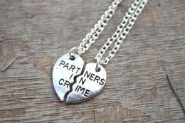 Wholesale 10set partners in crime neckalces broken heart neckalce best friends necklace BFF necklaces
