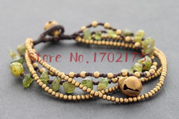 Wholesale-High Quality Multi-layer Wax Cord Brass Bead Knotted Wrap Brass Bell Bracelets For Men And Women Lovers Gift Vintage Jewelry