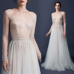 Paolo Sebastian Sexy Sequin Sheer Evening Dresses With Sash Sweep Train Tulle Formal Evening Prom Gowns