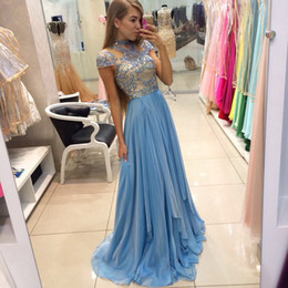 2016 Charming Prom Gowns High Neck Beading Formal Evening Dress Capped Sleeve A Line Noble Custom Made High Quality