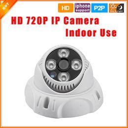 Promotion dôme intérieur caméras ip 1280*720P 1.0 MP 4PCS Matrice de LED de Dôme d'Appareil-photo d'IP de HD ONVIF 2.0 Intérieur P2P Caméra IP Pour le Système de Caméra Avec Filtre IR Caméra de VIDÉOSURVEILLANCE