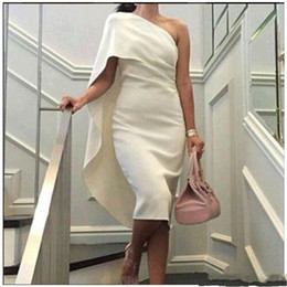 2019 New Evening Dresses Straight prom dresses White Simple Sleeveless One Shoulder Length Evening Gowns 045