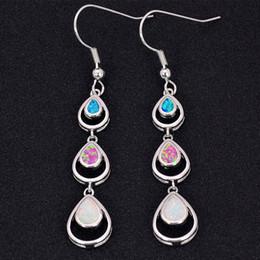 Wholesale & Retail Fashion Multi Fine Fire Opal Earrings 925 Silver Plated Jewelry For Women EMT16061902