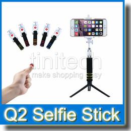 Promotion contrôleur bluetooth pour monopode Q2 Moniteur de Selfie Self monopode extensible Monopode de poche + Controleur à distance de caméra Bluetooth pour iPhone Galaxy Android Smart Phone