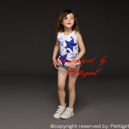 Pettigirl 2016 Wholesale Kids Clothes Summer Clothing Set Sleeveless Girls Blue Stars T Shirt And Gray Pants Children Clothing CS30301-04