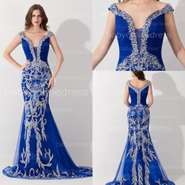 Sheath Mermaid Royal Blue Tulle Prom Evening Dress 2015 Off Shoulder Formal Party Gowns With Unique Beading Sequins ElegantNew Gowns BZP0436