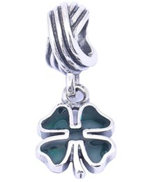 100% Sterling Silver Charms 925 Ale Dangle Green Clover Charms for Pandora Bracelets DIY European Beads Accessories