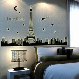 Wholesale I Love Pairs Luminous PVC Quote Wall Stickers Decal Glow In the Dark Eiffel Tower Fluorescent Stars Airplane Building Wall Art Murals