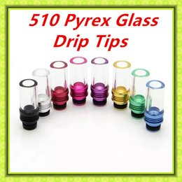 Wholesale 510 Drip tips Pyrex Glass aluminum Drip tip Mouthpiece Wide Bore Atomizer Mouthpieces for ego atomizers Uwell Crown Free DHL