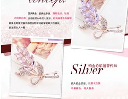 Korean hot sale fashion flash drilling leaf brooch Korean female suits OL imitation diamond brooch jewelry