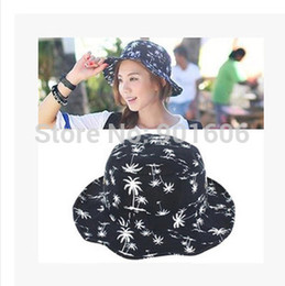 Wholesale-2015 New Fashion Lovely Summer Black  White Red Navy Coconut Tree Printed Bucket Hats For Women
